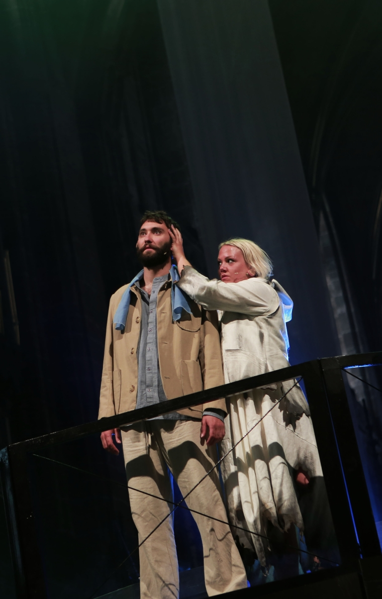 Nick Sherratt as Jesus with Becca Gates-Patch as Lucifer 2